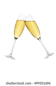 Glasses of sparkling champagne in motion for party on white background