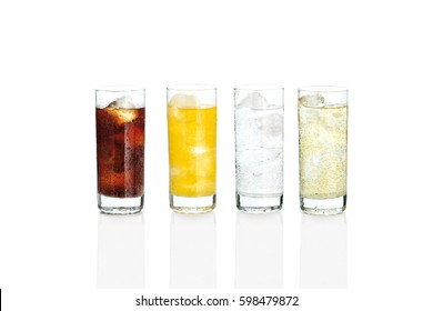 Glasses with sweet drinks with ice cubes isolated on white
