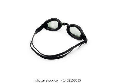 Glasses for swimming. Close-up. Isolated on white background.