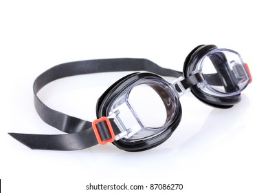 glasses for swimming isolated on white