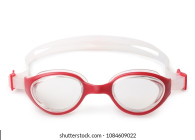 Glasses for swimming on white background
