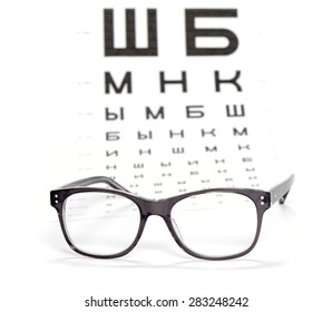 Glasses and test chart for the eye