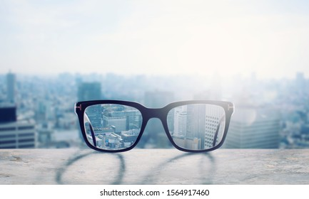 Glasses that correct eyesight from blurred to sharp - Shutterstock ID 1564917460