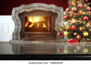 glasses top of space for your decoration and fireplace background with xmas tree