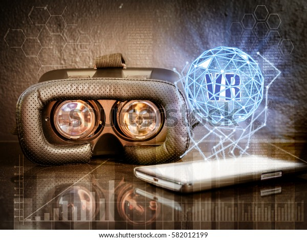 Glasses of virtual reality. Future technology concept.VR-headset glasses and smartphone.VR virtual reality headset future gaming