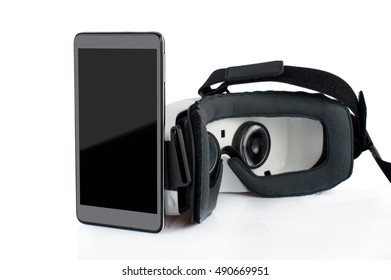 Glasses of virtual reality. Oculus Rift. Smartphone. On white, isolated background.