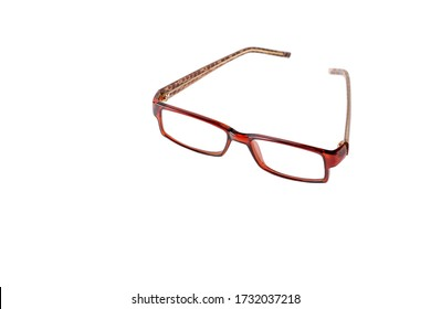glasses for vision in brown plastic frames on a white isolated background