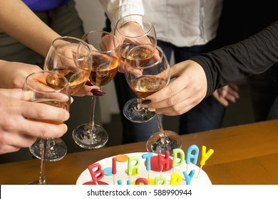 Glasses of wine on a cheerful birthday