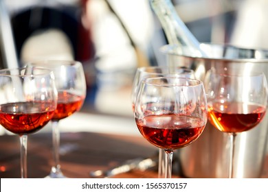 glasses of wine on the yacht