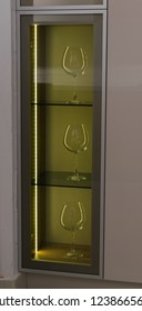 Glasses of wine in the showcase