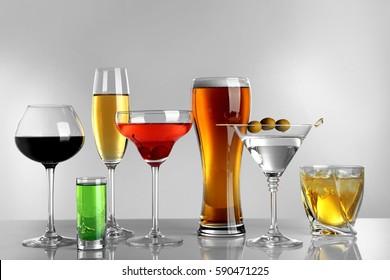 Glasses Wine Spirits On Light Background Stock Photo (Edit Now ...