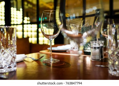 glasses for wine in a table setting