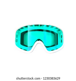 Glasses for winter sports isolated on white background. Protective mask of turquoise color. for skiing and snowboarding.