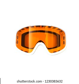 Glasses for winter sports isolated on white background. Orange glasses for skiing and snowboarding.