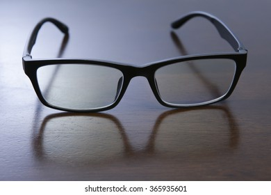 Glasses in wooden table