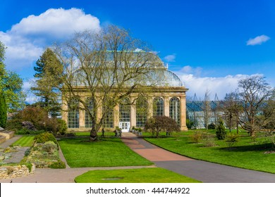 Glasshouse at the Royal Botanical Gardens in public park  Edinburgh, Scotland, UK