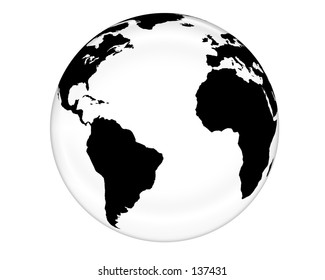 A glass-like Earth globe.