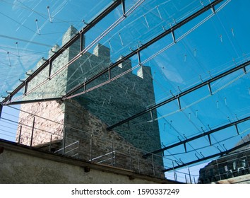 Glass-roof and tower of Castle Juval, owned by Reinhold Messner, above Naturns, Schnalstal, Etschtal, Valle dell'Adige, Vinschgau Valley, Alto Adige, Italy,
