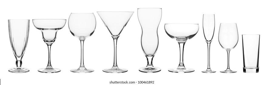 glassware for bar drinks