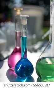 glassware with colorful liquids