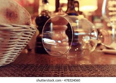 Glassware in the interior of the restaurant