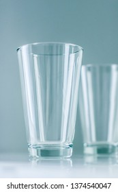 Glassware, washing and purity concept - Clean empty glasses on marble table