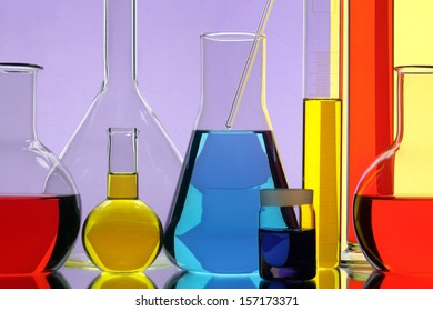 Glasswares in chemical laboratory