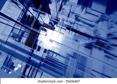 Glassy orthogonal spatial environment - digital 3d artwork