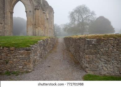 Glastonbury Abbey, ruins in the fog, UK
