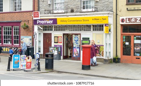 Glastonbury, England - May 9, 2018: Premier Shop Abbey Convenience Store in Glastonbury Town Centre, Premier Stores is a symbol group within the Booker Group