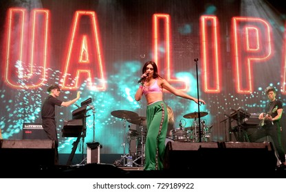 Glastonbury Festival - June 25 2017: Singer  songwriter and model Dua Lipa performing on the John Peel stage Glastonbury Festival, Pilton, Somerset June 25, 2017 in Somerset, UK