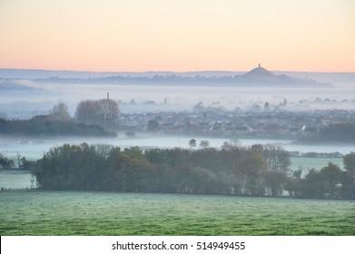 Glastonbury Moor Fog Morning