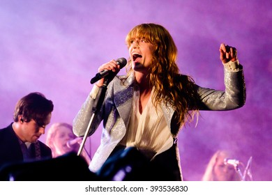 Glastonbury, Somerset, UK - June  26th, 2015 - Florence Welch of Florence and the Machine headlining Glastonbury Festival's Pyramid Stage.