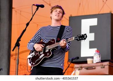 Glastonbury, Somerset, UK - June 27, 2015 - George Ezra playing Glastonbury Festival's Pyramid Stage