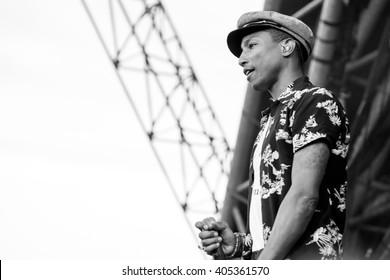 Glastonbury, Somerset, UK - June 27, 2015 - Pharrell Williams playing Glastonbury Festival's Pyramid Stage