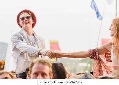 Glastonbury, Somerset, UK - June 27, 2015 - Festival goers enjoying Ben Howard playing Glastonbury Festival's Other Stage