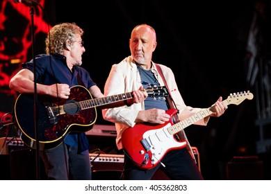 Glastonbury, Somerset, UK - June 28, 2015 - Roger Daltrey and Pete Townshend of The Who Headlining Glastonbury Festival's Pyramid Stage