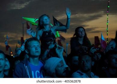 Glastonbury, Somerset, UK - June 28, 2015 - Festival goers enjoying Chemical Brothers playing Glastonbury Festival's Other Stage