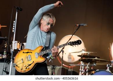 Glastonbury, Somerset, UK - June 28, 2015 - Paul Weller playing Glastonbury Festival's Pyramid Stage
