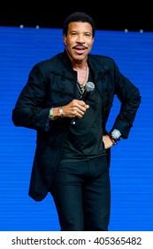 Glastonbury, Somerset, UK - June 28, 2015 - Lionel Richie playing Glastonbury Festival's Pyramid Stage