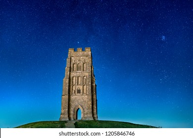 Glastonbury Tor at Night with Stars in the Sky