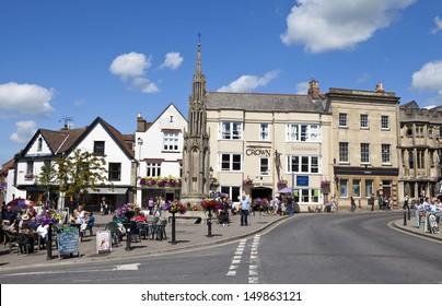 Glastonbury Town centre in Somerset, England.