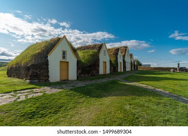 Glaumbaer, large farm turf house dating from the late 1800s, which reproduce a style of construction used for centuries in Iceland, Skagafjörður in North-Iceland