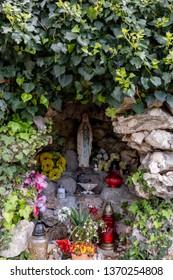 Glavotok Croatia April 12 2019: Religious statues at the Monastery in Glavotok port , Krk Island.