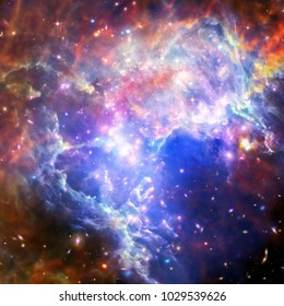 Glaxies and nebula in deep space. Star cluster. The elements of this image furnished by NASA.