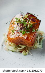 glazed black cod with fennel and pomelo