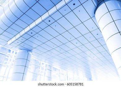 glazed ceiling upside in blue colors toned