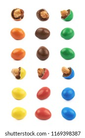 Glazed chocolate nut candy isolated over the white background, set of multiple different foreshortenings and colors