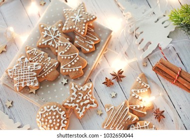 Glazed christmas biscuits, gingerbread.