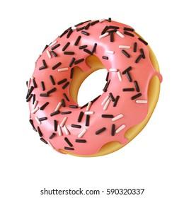 Glazed donut or doughnut with sprinkles 3d rendering ,